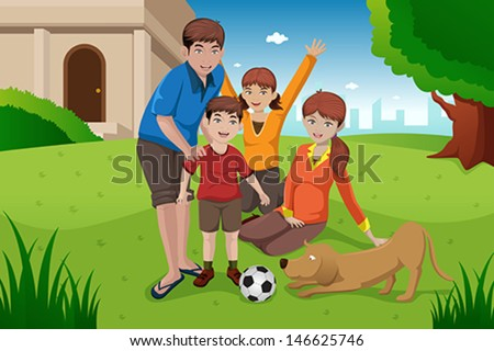 A vector illustration of happy family having fun with their pet outside their house - stock vector