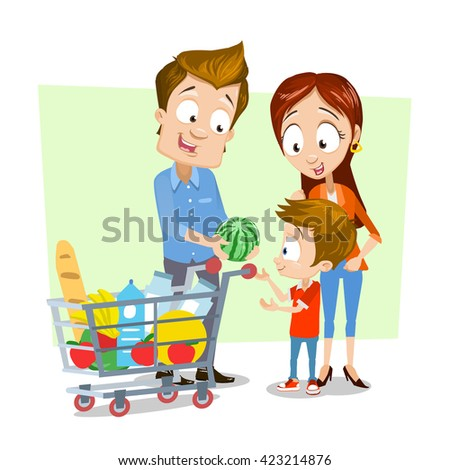 A vector illustration of happy family shopping in a supermarket - stock vector