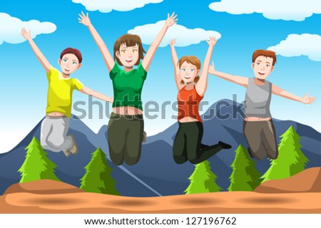 A vector illustration of happy friends jumping together - stock vector