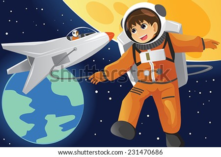A vector illustration of happy kid imagining as an astronaut - stock vector