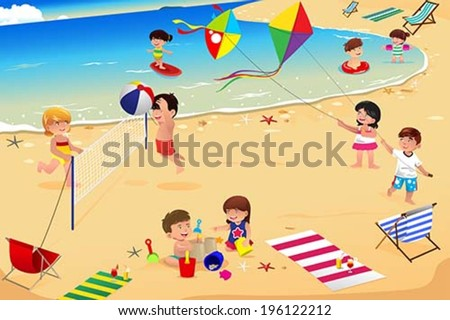 A vector illustration of happy kids having fun on the beach - stock vector