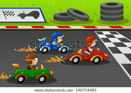A Vector Illustration Of Happy Kids In Car Racing