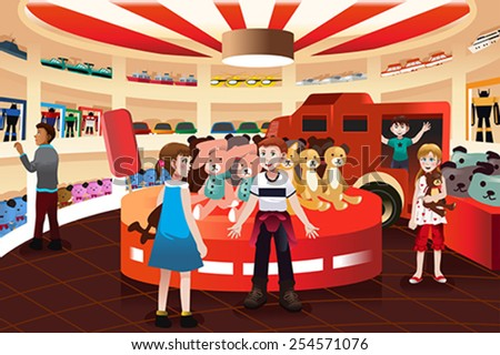A vector illustration of happy kids in a toy store - stock vector