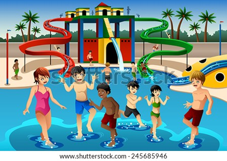 A vector illustration of happy kids playing in a waterpark - stock vector
