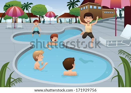 A vector illustration of happy kids playing in an outdoor swimming pool at a resort - stock vector