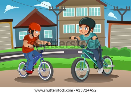 A vector illustration of happy kids riding bike together