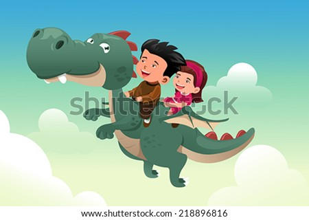 A vector illustration of happy kids riding on a cute dragon - stock vector
