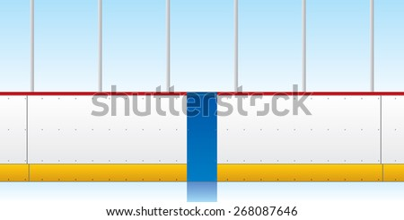 A vector illustration of hockey boards and glass. The blue line is visible in the middle of the image. - stock vector