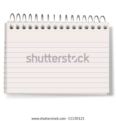 A vector illustration of index cards held together by a metal spiral, casting a soft shadow. Good as a stationary element. - stock vector