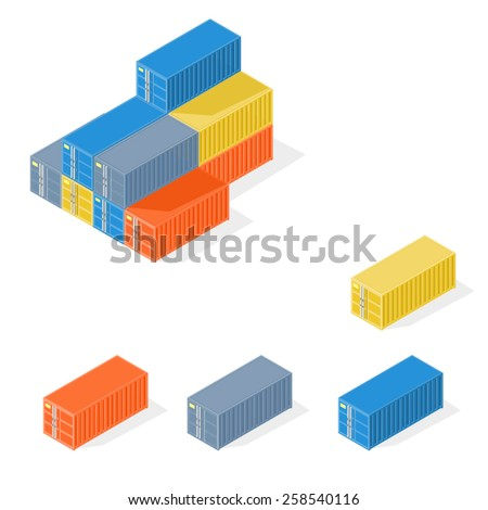A vector illustration of industrial cargo crates Isometric Industrial Crates. Good stored in steel containers. - stock vector