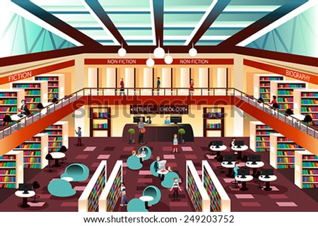 A vector illustration of inside the modern library - stock vector