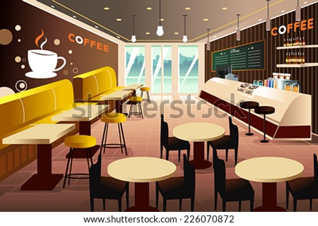 A vector illustration of interior of a modern coffee shop - stock vector