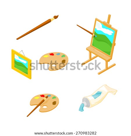 A vector illustration of isometric artist icons. Art Icons Isometric Art and Craft Icons. - stock vector