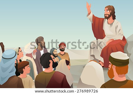 A vector illustration of Jesus spreading his teaching to people - stock vector