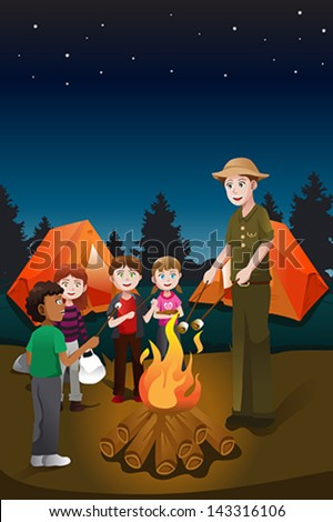 A vector illustration of kids and their counselor having a bonfire in a summer camp - stock vector