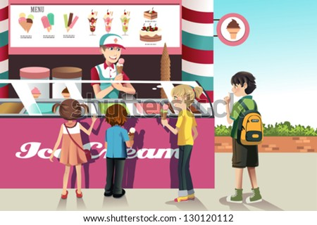 A vector illustration of kids buying ice cream at an ice cream stand - stock vector