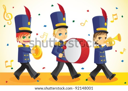 A vector illustration of kids in a marching band - stock vector
