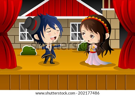A vector illustration of kids performing on a stage - stock vector