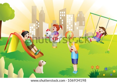 A vector illustration of kids playing in the playground