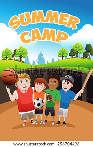 A vector illustration of kids summer camp flyer - stock vector
