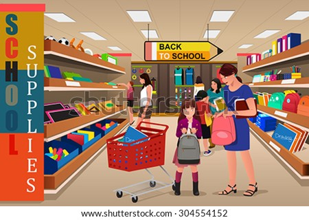 A vector illustration of kids with their parents buying school supplies in a store - stock vector