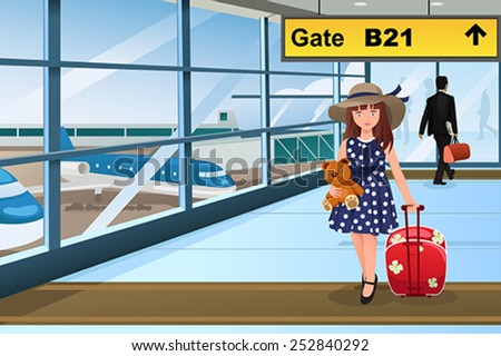 A vector illustration of Little cute girl traveling in the airport - stock vector