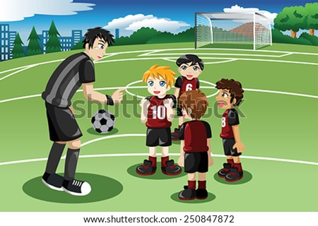 A vector illustration of little kids in soccer field listening to their coach - stock vector