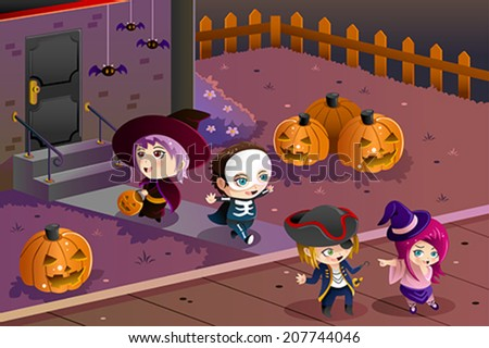 A vector illustration of Little kids wearing Halloween costumes going out for trick or treat - stock vector