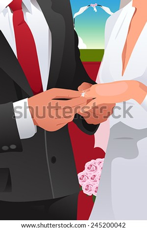 A vector illustration of man putting wedding ring on woman hand