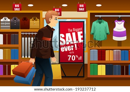 A vector illustration of man shopping at a clothing store inside of a shopping mall - stock vector