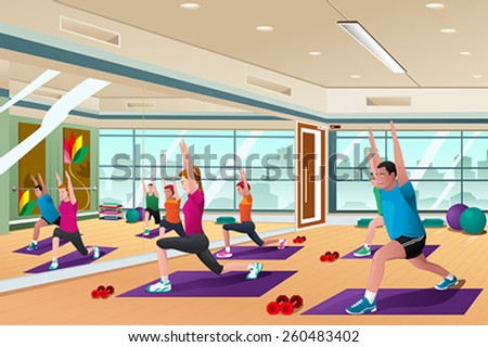 A vector illustration of men and women in a yoga class - stock vector
