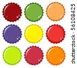 A vector illustration of metal bottle tops in various colours, with condensation water drops. Space for your text - stock vector