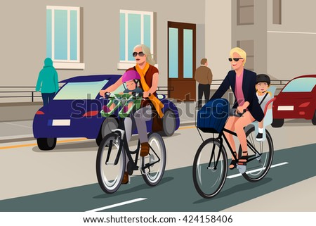 A vector illustration of modern women  biking in the city with their kids