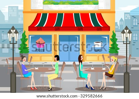 A vector illustration of modern young people hanging out outside a cafe in the city