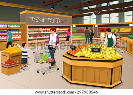 A vector illustration of mother and her son shopping in a grocery store - stock vector