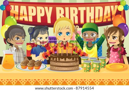 A vector illustration of multi-ethnic kids in a birthday party - stock vector