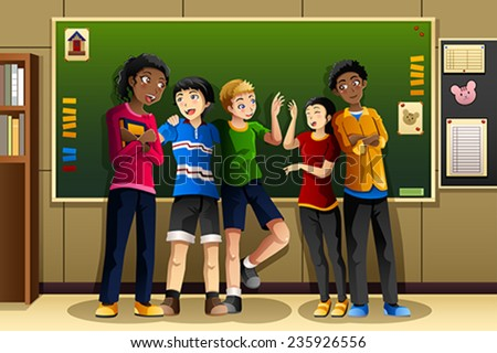 A vector illustration of multi-ethnic students in the classroom - stock vector