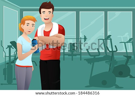 A vector illustration of muscular man and healthy sexy woman wearing sport outfit in the gym - stock vector