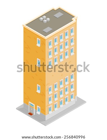 A vector illustration of of an apartment block. Isometric apartment block. Isometric residential apartments. - stock vector