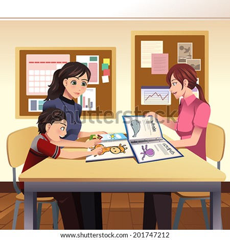 A vector illustration of parents and teacher meeting discussing in the classroom - stock vector