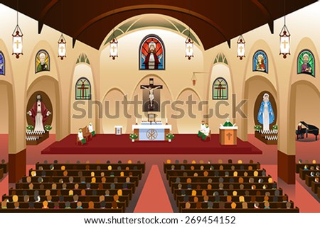 A vector illustration of pastor giving a sermon at a church - stock vector