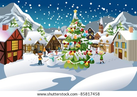 A vector illustration of people enjoying the Christmas season in a village with snow all over the place - stock vector