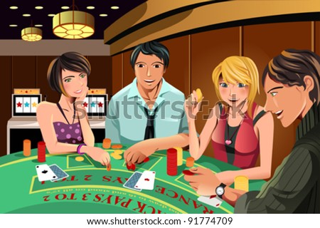A vector illustration of people gambling in a casino - stock vector