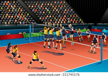 A vector illustration of people playing volleyball in the competition for sport competition series - stock vector