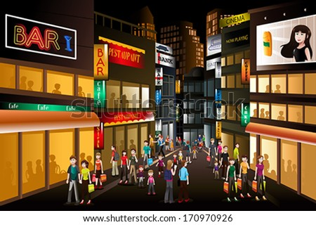 A vector illustration of people shopping at a busy city center at night - stock vector