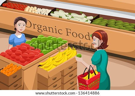 A vector illustration of people shopping at an organic food aisle in a grocery store - stock vector