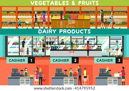 A vector illustration of people shopping in a grocery store - stock vector