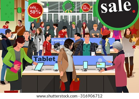 A vector illustration of people shopping on black friday in electronic store - stock vector