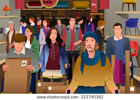 A vector illustration of people shopping on black friday in grocery - stock vector