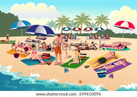 A vector illustration of people sunbathing on the beach - stock vector